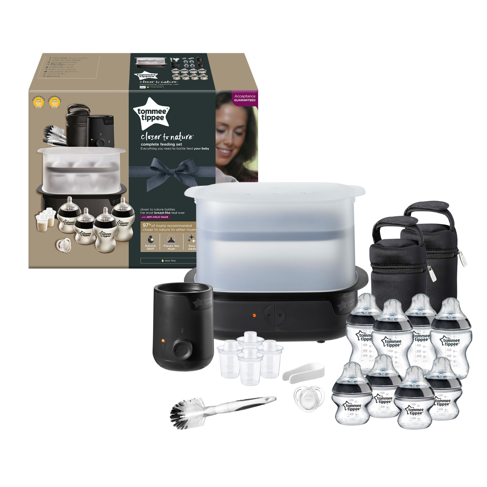 baby-fairTommee Tippee Complete Feeding Set (BLACK - The Clash) Include Bottle Warmer + Bottles + Formula Dispensers + Soother + Teat Brush